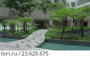Купить «Decorative garden at the bottom of apartment block», видеоролик № 23625675, снято 10 июля 2016 г. (c) Данил Руденко / Фотобанк Лори