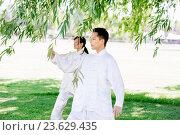 Купить «People practicing thai chi in park», фото № 23629435, снято 19 декабря 2014 г. (c) Sergey Nivens / Фотобанк Лори