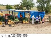 Купить «Рынок арбузов и дынь на въезде в Соль- Илецк», фото № 23655959, снято 11 августа 2016 г. (c) Акиньшин Владимир / Фотобанк Лори