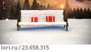 Composite image of digitally generated image of gift boxes on park bench, иллюстрация № 23658315 (c) Wavebreak Media / Фотобанк Лори