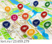 Купить «City map and pins with icons. Concept of navigation or gps.», фото № 23659279, снято 18 января 2020 г. (c) Maksym Yemelyanov / Фотобанк Лори