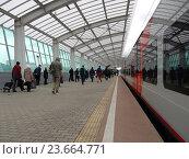 Купить «Станция «Лужники» Московского центрального кольца (МЦК)», эксклюзивное фото № 23664771, снято 21 сентября 2016 г. (c) lana1501 / Фотобанк Лори