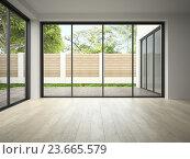 Купить «3D интерьер пустой комнаты с панорамными окнами», иллюстрация № 23665579 (c) Hemul / Фотобанк Лори