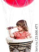 Купить «child on hot air balloon watching through spyglass», фото № 23666471, снято 16 мая 2014 г. (c) Оксана Кузьмина / Фотобанк Лори