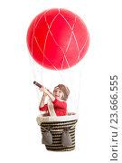 Купить «child on hot air balloon watching through spyglass», фото № 23666555, снято 1 мая 2014 г. (c) Оксана Кузьмина / Фотобанк Лори