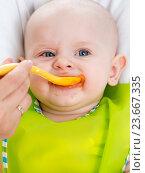 Купить «mom feeding baby with a spoon», фото № 23667335, снято 19 марта 2014 г. (c) Оксана Кузьмина / Фотобанк Лори