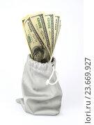 Доллары в мешочке. Стоковое фото, фотограф Юрий Елисеев / Фотобанк Лори