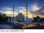 Купить «Грозный. Центральная мечеть Сердце Чечни имени Ахмата Кадырова на фоне фонтана», эксклюзивное фото № 23670779, снято 20 сентября 2016 г. (c) Литвяк Игорь / Фотобанк Лори