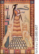 The Snake Goddess of Crete after the painting by John Duncan  Colour illustration from the book Myths of Crete and Pre-Hellenic Europe by Donald A Mackenzie. Редакционное фото, фотограф Classic Vision / age Fotostock / Фотобанк Лори