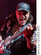 Купить «DNIPROPETROVSK, UKRAINE – OCTOBER 31: Matthias Jabs from Scorpions rock band performs live at Sports Palace SC Meteor. Final tourconcert on October 31, 2012», фото № 23693691, снято 31 октября 2012 г. (c) age Fotostock / Фотобанк Лори