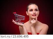 Купить «Young woman with shopping cart», фото № 23696495, снято 18 июля 2016 г. (c) Elnur / Фотобанк Лори