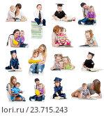 Купить «Collection of babies or kids reading a book. Concept of education from early childhood.», фото № 23715243, снято 18 января 2020 г. (c) Оксана Кузьмина / Фотобанк Лори