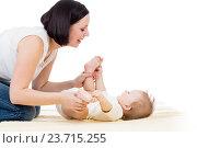 Купить «happy mother having fun with her baby boy infant», фото № 23715255, снято 22 января 2013 г. (c) Оксана Кузьмина / Фотобанк Лори