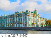 Купить «Architecture of St Petersburg - Hermitage or Winter Palace on the embankment of Neva river in St Petersburg,Russia», фото № 23716647, снято 3 октября 2016 г. (c) Зезелина Марина / Фотобанк Лори
