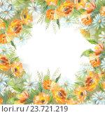 Купить «Акварельный фон с цветами», иллюстрация № 23721219 (c) Костина Надежда / Фотобанк Лори