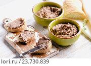 Купить «Chicken liver pate with bread on a wooden table», фото № 23730839, снято 17 августа 2016 г. (c) Tatjana Baibakova / Фотобанк Лори