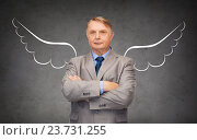 Купить «senior businessman with angel wings over gray», фото № 23731255, снято 17 ноября 2018 г. (c) Syda Productions / Фотобанк Лори