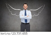 Купить «happy businessman with angel wings over gray», фото № 23731655, снято 17 ноября 2018 г. (c) Syda Productions / Фотобанк Лори