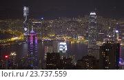 Гонконг в ночное время, вид с пика Виктории (2016 год). Редакционное видео, видеограф Михаил Коханчиков / Фотобанк Лори