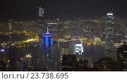 Город Гонконг в ночное время, вид с пика Виктория (2016 год). Редакционное видео, видеограф Михаил Коханчиков / Фотобанк Лори