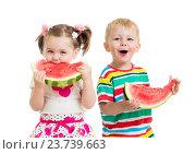 Купить «kids boy and girl eat watermelon isolated on white», фото № 23739663, снято 21 сентября 2013 г. (c) Оксана Кузьмина / Фотобанк Лори