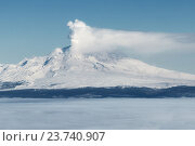 Купить «Извергающийся вулкан Шивелуч на полуострове Камчатка», фото № 23740907, снято 5 января 2016 г. (c) А. А. Пирагис / Фотобанк Лори