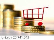 Купить «Торговая тележка на фоне денег», фото № 23741343, снято 12 февраля 2016 г. (c) Сергеев Валерий / Фотобанк Лори