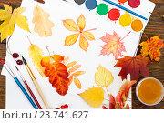 Купить «Лист бумаги с разноцветными осенними листьями, кисти, краски и палитра на деревянном столе», фото № 23741627, снято 8 октября 2016 г. (c) Наталия Пыжова / Фотобанк Лори