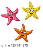 Купить «Набор из трех разноцветных морских звезд», иллюстрация № 23741875 (c) Анастасия Некрасова / Фотобанк Лори