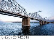 Купить «Сызранский (Александровский) железнодорожный мост. Волга от Балакова до Самары», фото № 23742315, снято 22 сентября 2018 г. (c) Igor Lijashkov / Фотобанк Лори