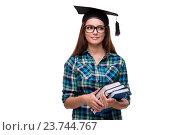 Купить «Young student isolated on the white background», фото № 23744767, снято 2 сентября 2016 г. (c) Elnur / Фотобанк Лори