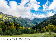 Купить «Горы и небо в Абхазии», фото № 23754639, снято 15 октября 2015 г. (c) Валерий Смирнов / Фотобанк Лори