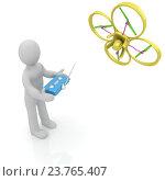 Купить «3D-человечек управляет дроном», иллюстрация № 23765407 (c) Guru3d / Фотобанк Лори