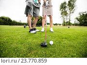 Купить «Male instructor assisting woman in learning golf», фото № 23770859, снято 20 июля 2016 г. (c) Wavebreak Media / Фотобанк Лори