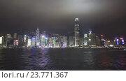 Гонконг ночью. Лодки в гавани Виктория (2016 год). Редакционное видео, видеограф Михаил Коханчиков / Фотобанк Лори
