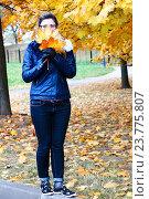 Женщина гуляет в осеннем парке, собирая листья. Стоковое фото, фотограф Елена Антипина / Фотобанк Лори
