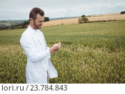 Купить «Agronomist checking the crops in the field», фото № 23784843, снято 12 августа 2016 г. (c) Wavebreak Media / Фотобанк Лори