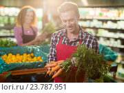 Купить «Smiling staff holding bunch of carrots in organic section», фото № 23787951, снято 17 мая 2016 г. (c) Wavebreak Media / Фотобанк Лори
