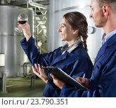 Купить «Man and woman employees on winery manufactory», фото № 23790351, снято 28 мая 2018 г. (c) Яков Филимонов / Фотобанк Лори