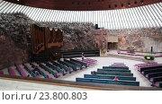 Купить «Интерьер церкви Темппелиаукио, вырубленной в скале, вид с балкона. Хельсинки, Финляндия», видеоролик № 23800803, снято 7 октября 2016 г. (c) Кекяляйнен Андрей / Фотобанк Лори