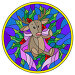 Иллюстрации в стиле витражного стекла с оленем, лента и ветви на голубом фоне, круглая рамка, иллюстрация № 23802943 (c) Наталья Загорий / Фотобанк Лори