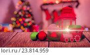 Купить «Composite image of digitally generated image of christmas accessories», иллюстрация № 23814959 (c) Wavebreak Media / Фотобанк Лори
