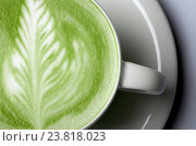 close up of matcha green tea latte in cup. Стоковое фото, фотограф Syda Productions / Фотобанк Лори