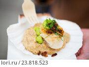 Купить «close up of scallop snack with garnish on seashell», фото № 23818523, снято 11 июня 2016 г. (c) Syda Productions / Фотобанк Лори