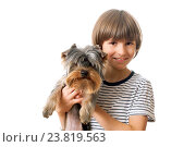 Купить «Happy boy with puppy yorkie», фото № 23819563, снято 16 октября 2016 г. (c) Юлия Кузнецова / Фотобанк Лори