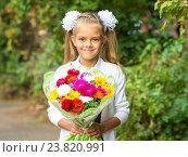 Купить «Портрет крупным планом семилетней школьнице с букетом цветов», фото № 23820991, снято 1 сентября 2016 г. (c) Иванов Алексей / Фотобанк Лори