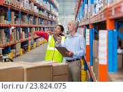 Купить «Warehouse manager and female worker interacting while checking inventory», фото № 23824075, снято 23 марта 2016 г. (c) Wavebreak Media / Фотобанк Лори