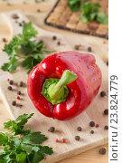Купить «Красный перец на разделочной доске», фото № 23824779, снято 17 апреля 2016 г. (c) Сергей Вольченко / Фотобанк Лори
