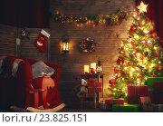 Купить «room decorated for Christmas», фото № 23825151, снято 2 октября 2016 г. (c) Константин Юганов / Фотобанк Лори