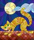 Иллюстрации в стиле витражного стекла с котом на крыше на фоне Луны и неба, иллюстрация № 23860143 (c) Наталья Загорий / Фотобанк Лори